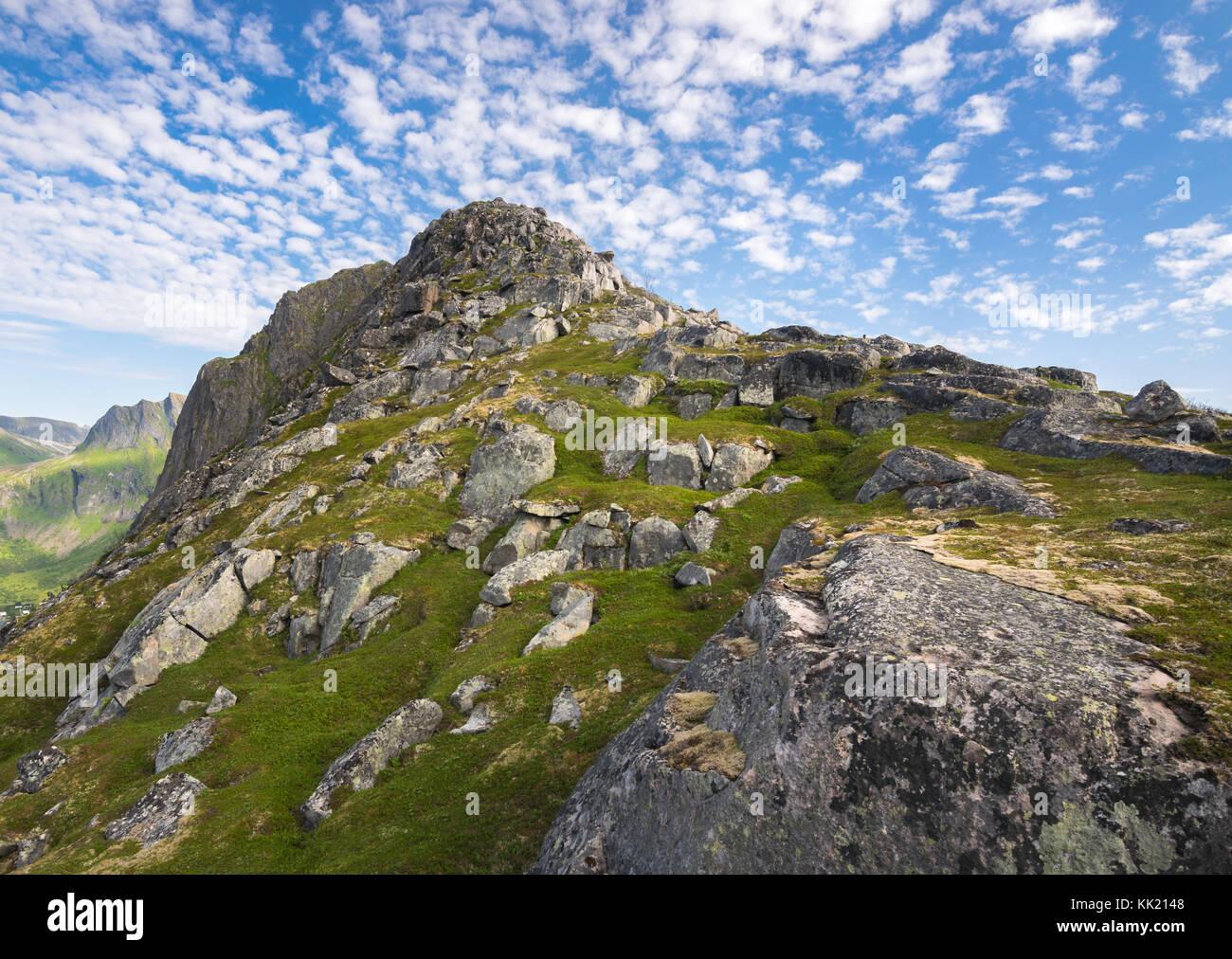 Hiking on Husjellet, Senja Island Norway. - Stock Image