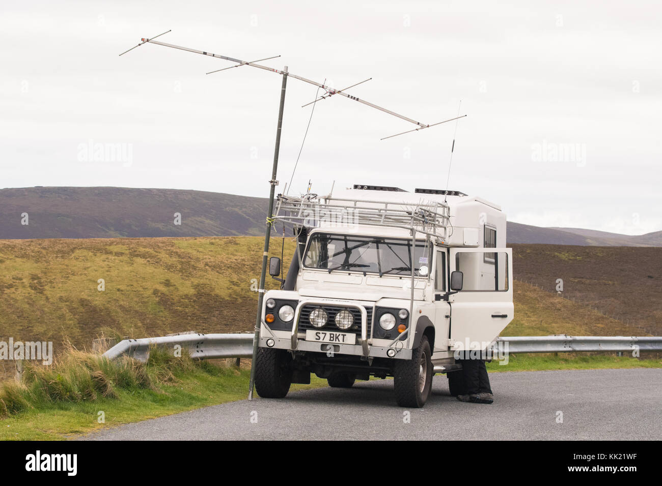 Ham radio enthusiast in remote location, Shetland Islands, Scotland, UK - Stock Image