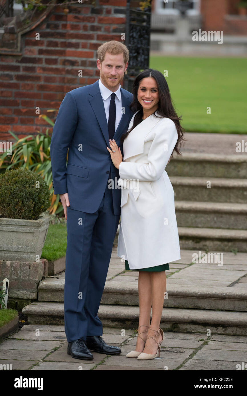 27th November 2017 London UK Britain's Prince Harry and his girlfriend Meghan Markle pose for photographs in the Stock Photo