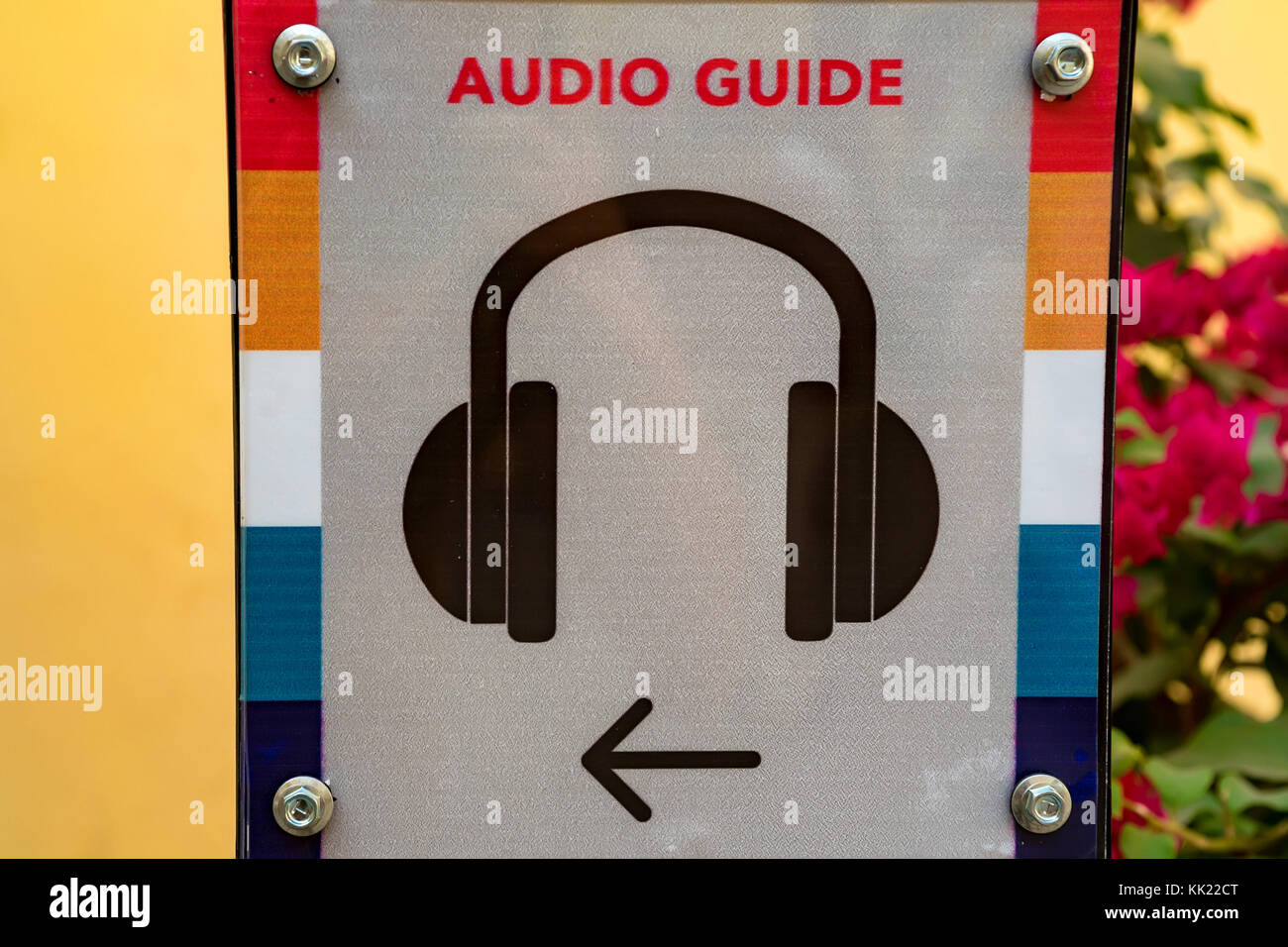 Close up audio guide sign - Stock Image
