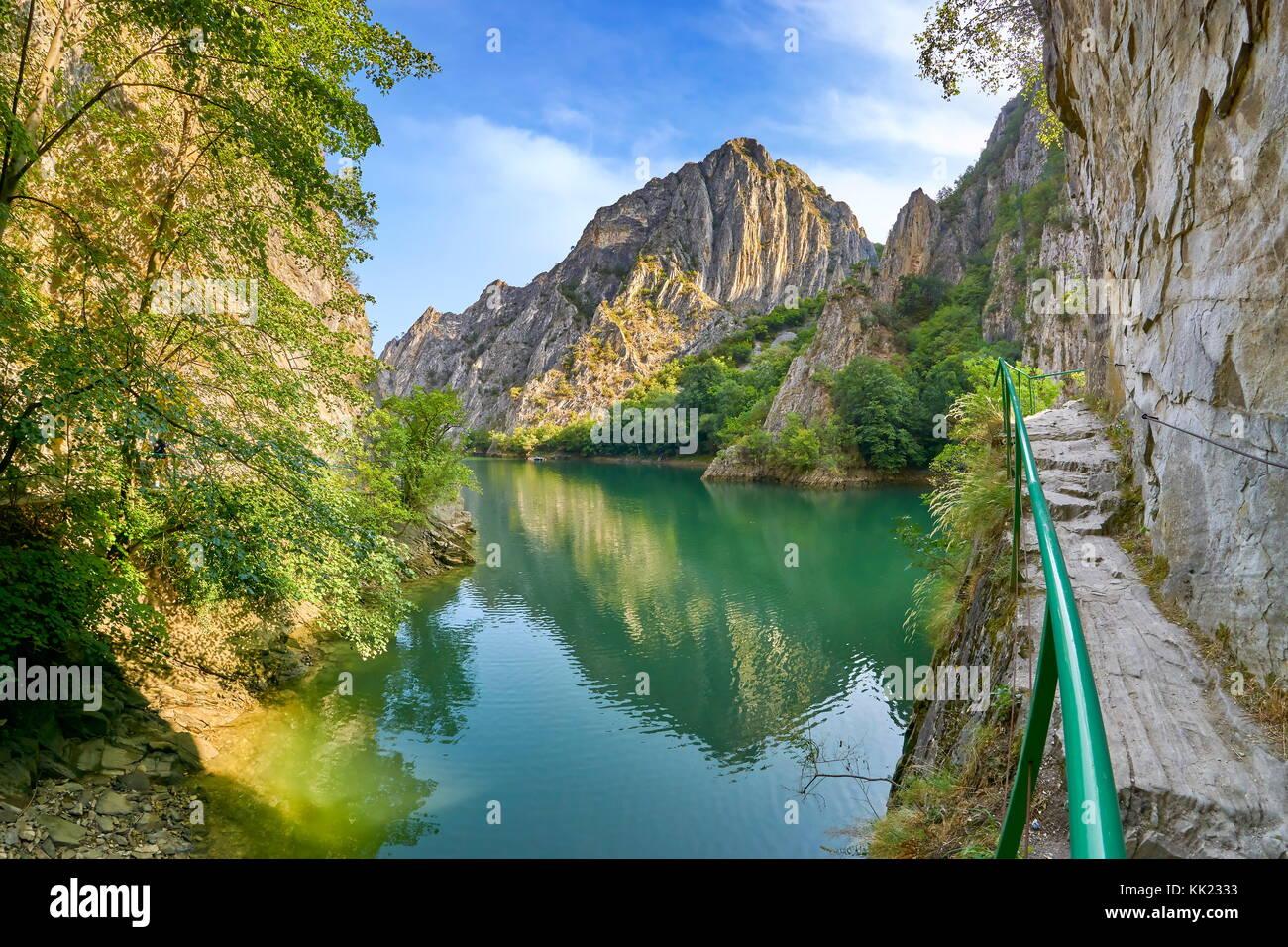 Tourist trail in the Matka Canyon, Macedonia - Stock Image