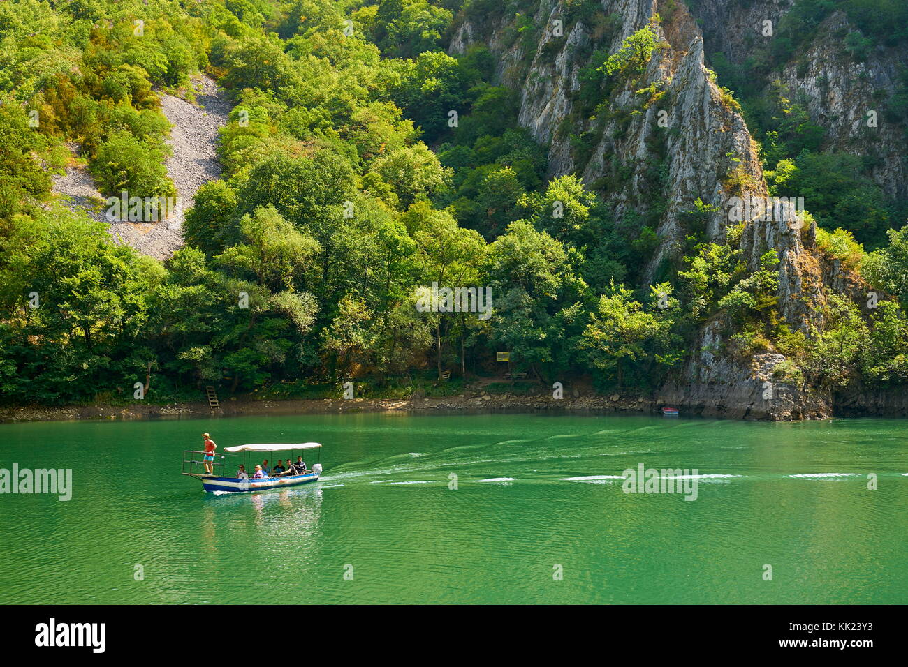 Speed motor boat on the lake, Matka Canyon, Macedonia - Stock Image
