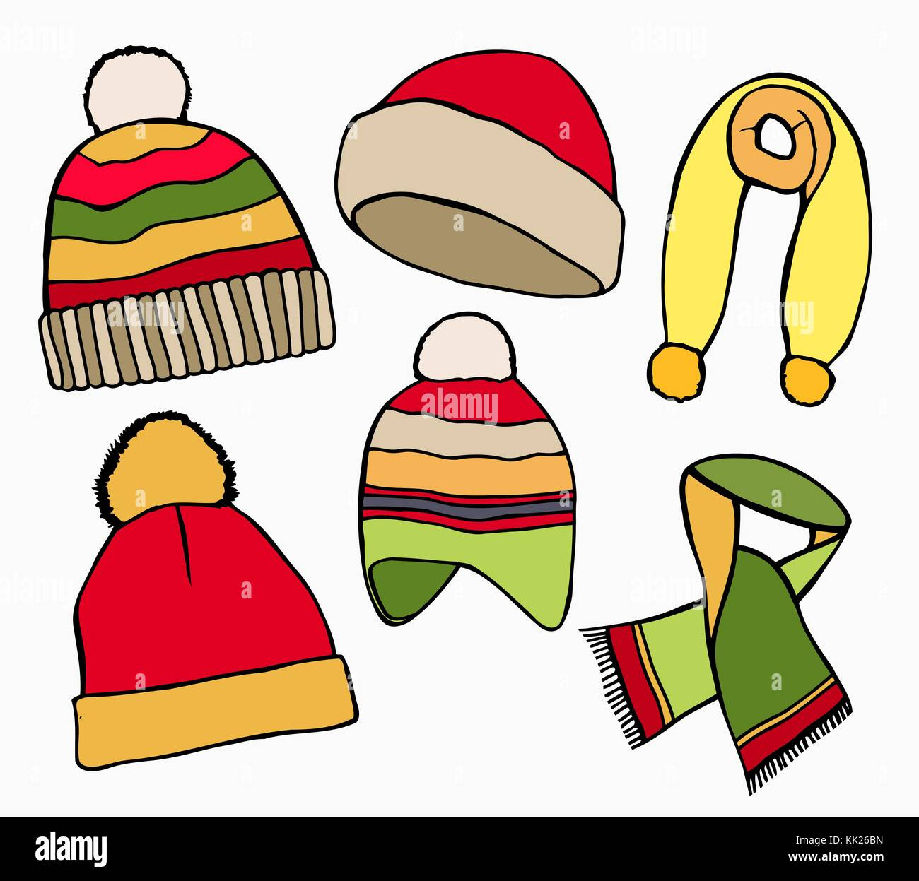 c32f8bf3 Hand drawn Set Vector collection of knitted woolen Hat and scarves. Winter  hat, scarves and vector illustration set winter icons. Isolated on white ba