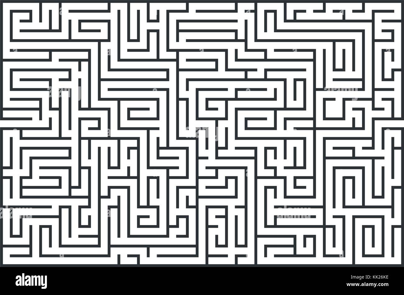 illustration of maze, labrinth. Isolated on white background. Medium difficulty. - Stock Vector