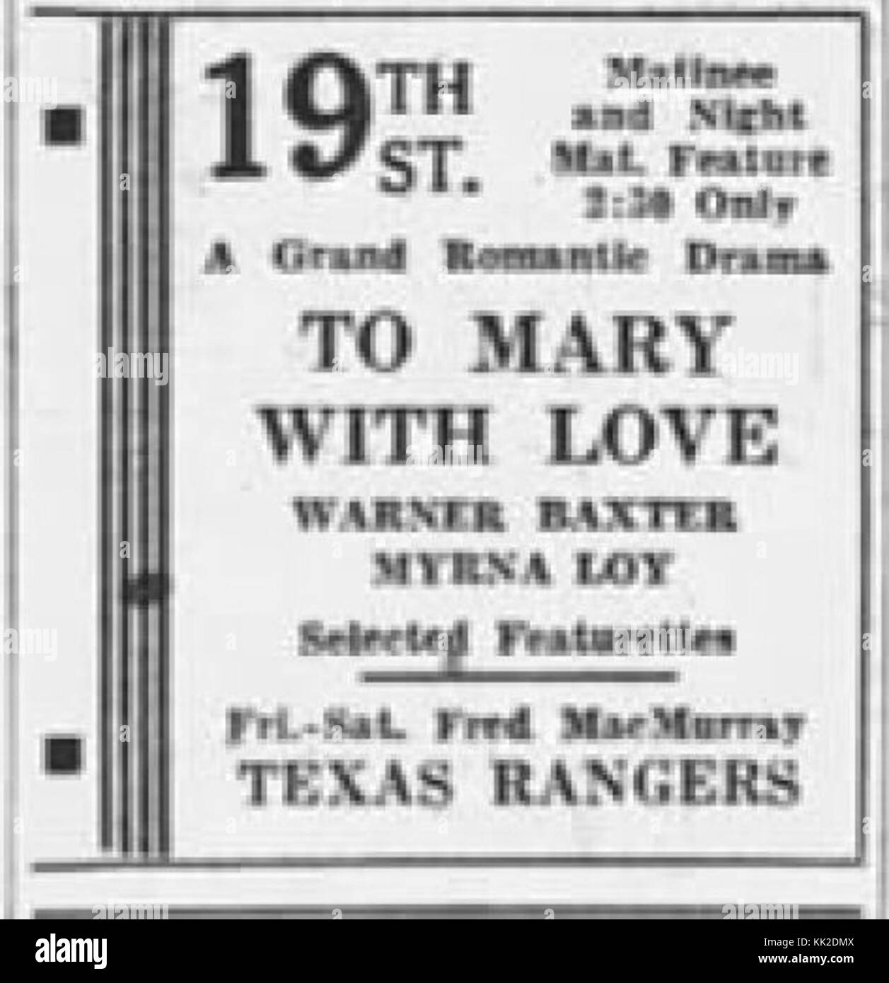 1936   Nineteenth Street Theater Ad   8 Oct MC   Allentown - Stock Image