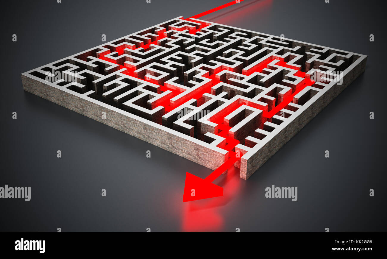 Red arrow successfully navigating trough the labyrinth. 3D illustration. - Stock Image