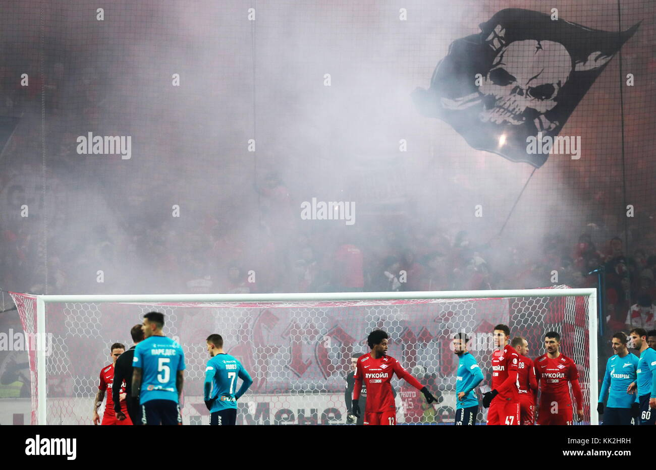 Moscow, Russia. 27th Nov, 2017. Spartak Moscow's and Zenit St Petersburg's players in their 2017/2018 Russian - Stock Image