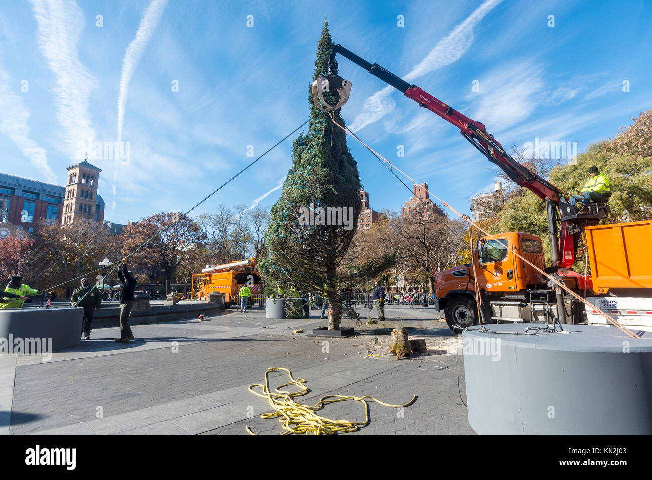 New York, USA. 27th November, 2017. The Annual Christmas tree arrived in Washington Square Park Monday morning. Stock Photo