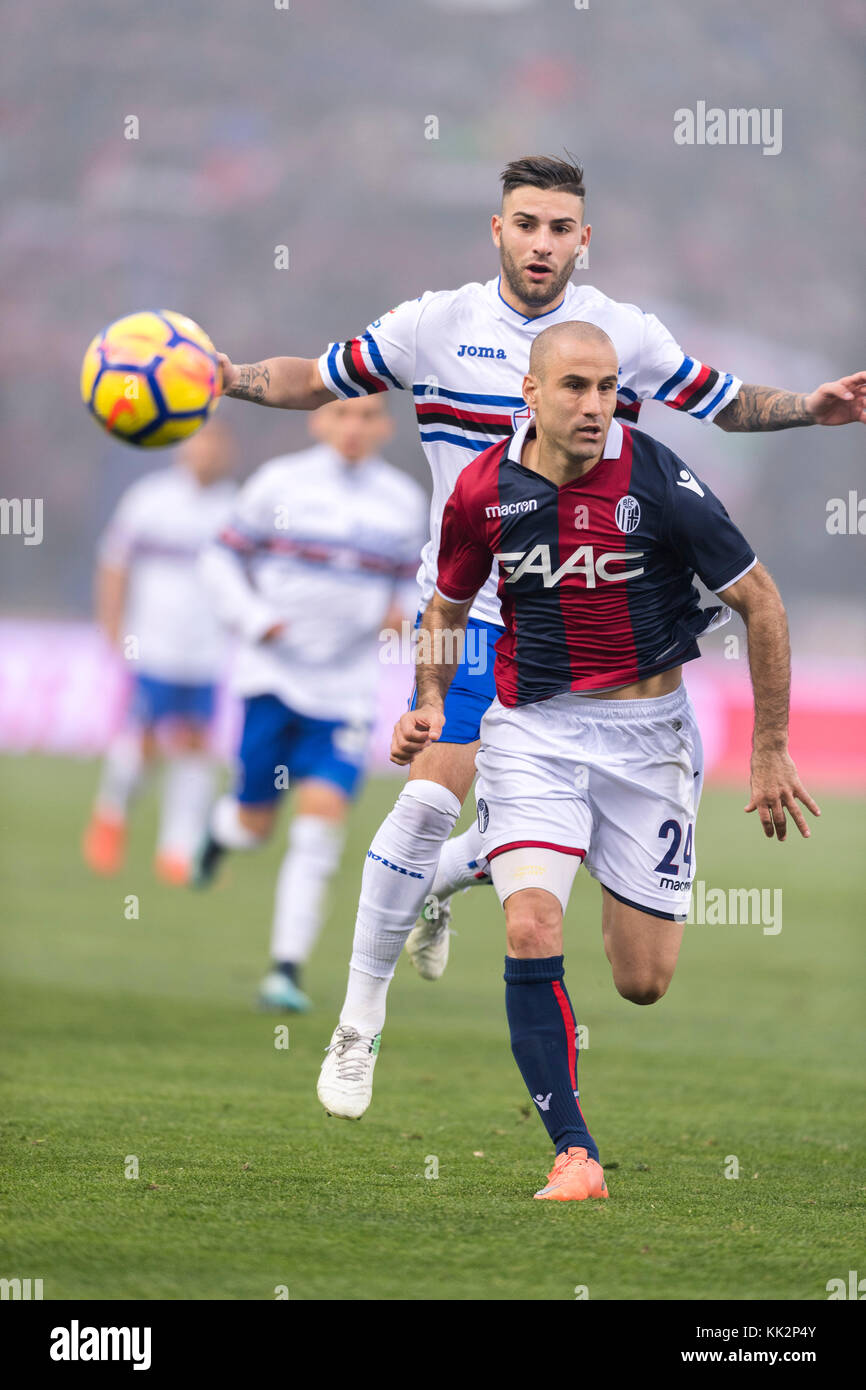 Bologna, Italy. 25th Nov, 2017. (F-B) Rodrigo Palacio (Bologna), Nicola Murru (Sampdoria) Football/Soccer : Italian Stock Photo