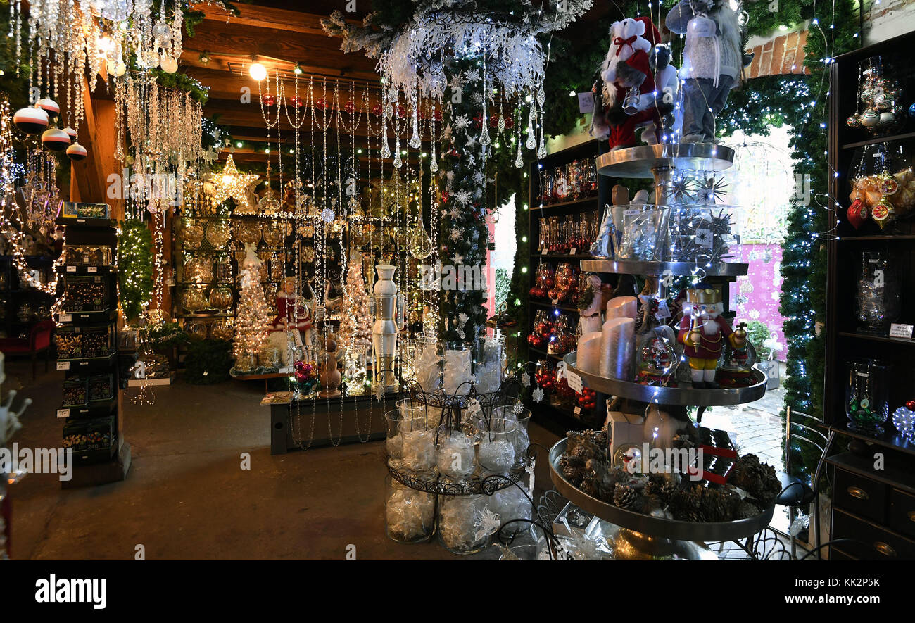 Hanging Christmas Decorations Ceiling.All Kinds Of Christmas Decorations Lying On Shelves And