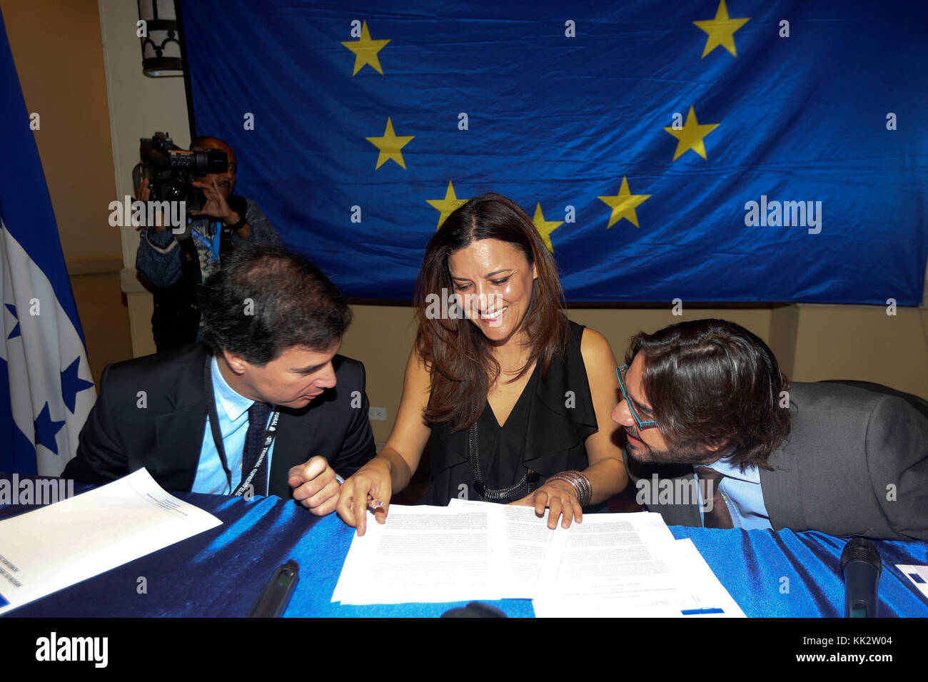 The head of the delegation of the European Parliament Jose Ignacio Faria (L), head of the Electoral Observation - Stock Image
