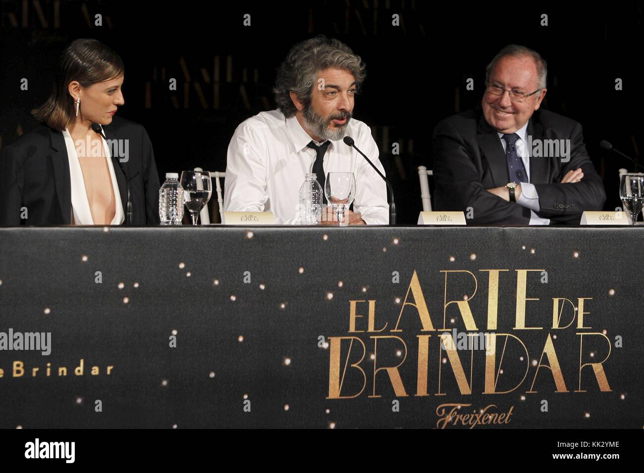 Spanish actress Michelle Jenner (L), Argentine actor Ricardo Darin (C) and president of Freixenet 'cava' - Stock Image