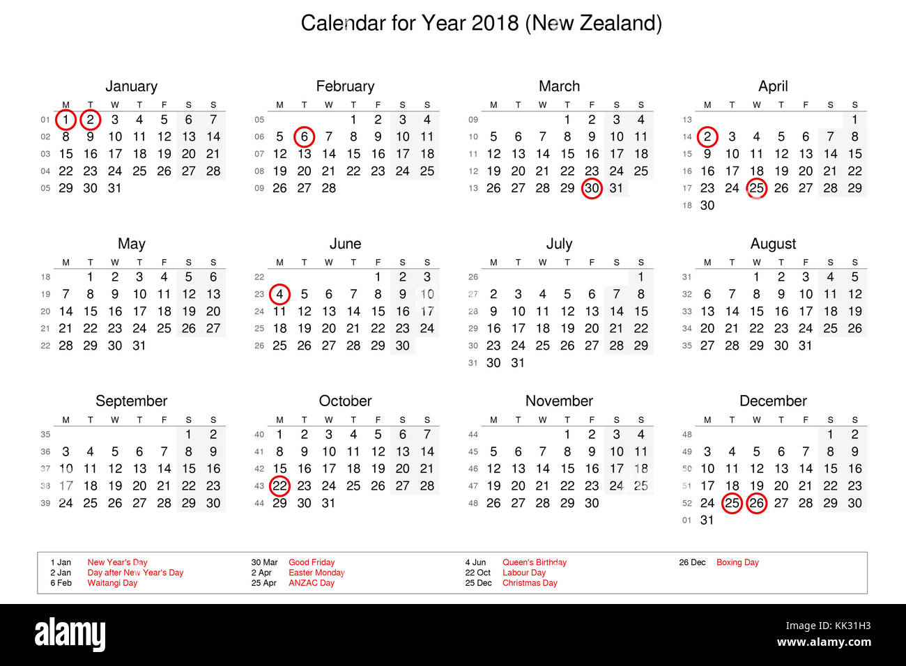 Calendar Of Year 2018 With Public Holidays And Bank For New Zealand