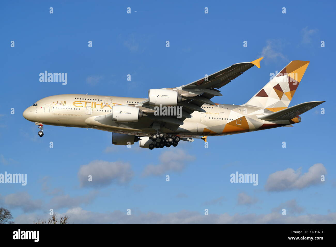 Etihad Airbus A380 A6-APD landing at London Heathrow Airport, UK - Stock Image