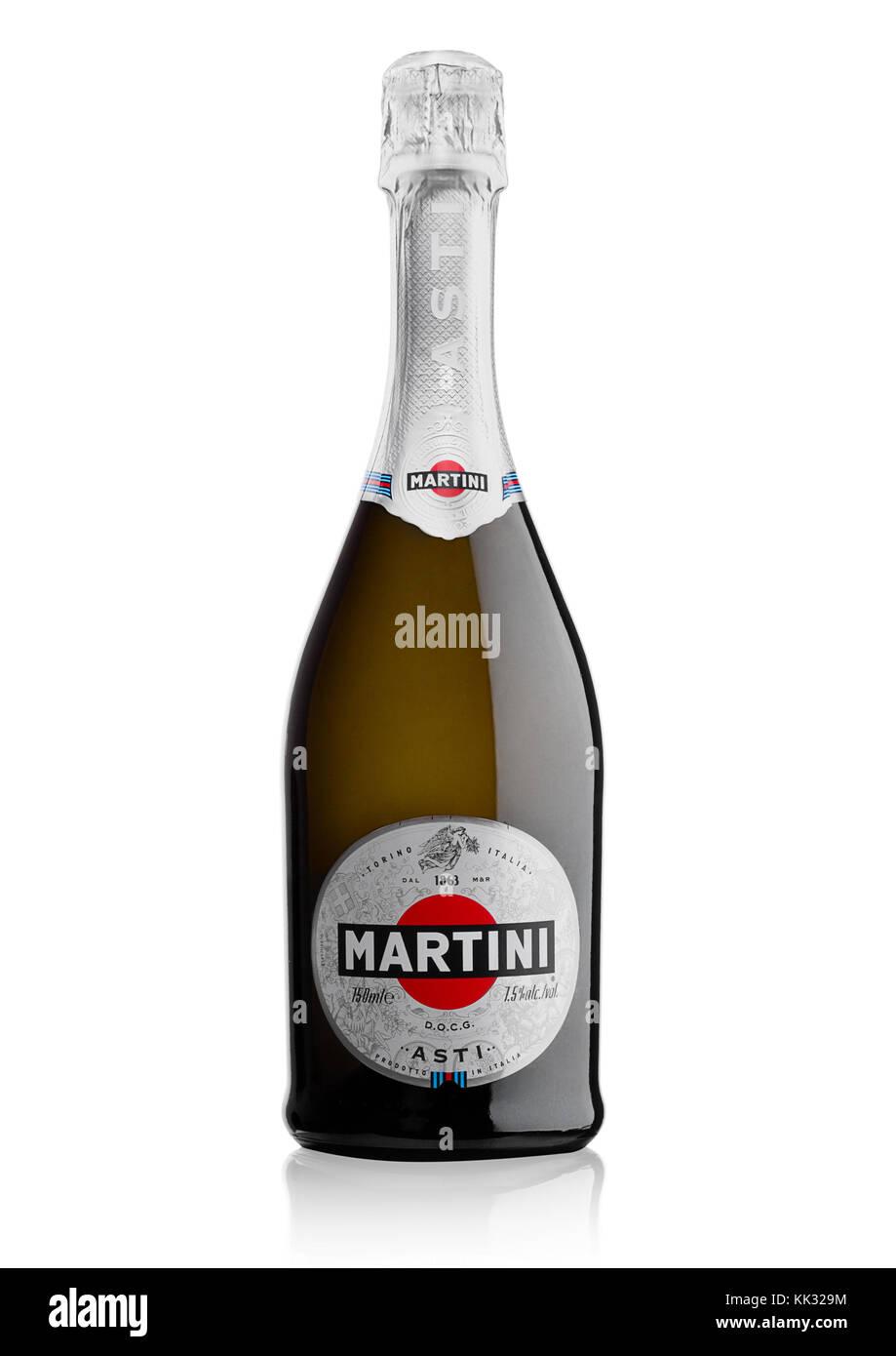 LONDON, UK - November 24, 2017: Bottle of sparkling wine Martini Asti on white background. Produced in Italy Stock Photo