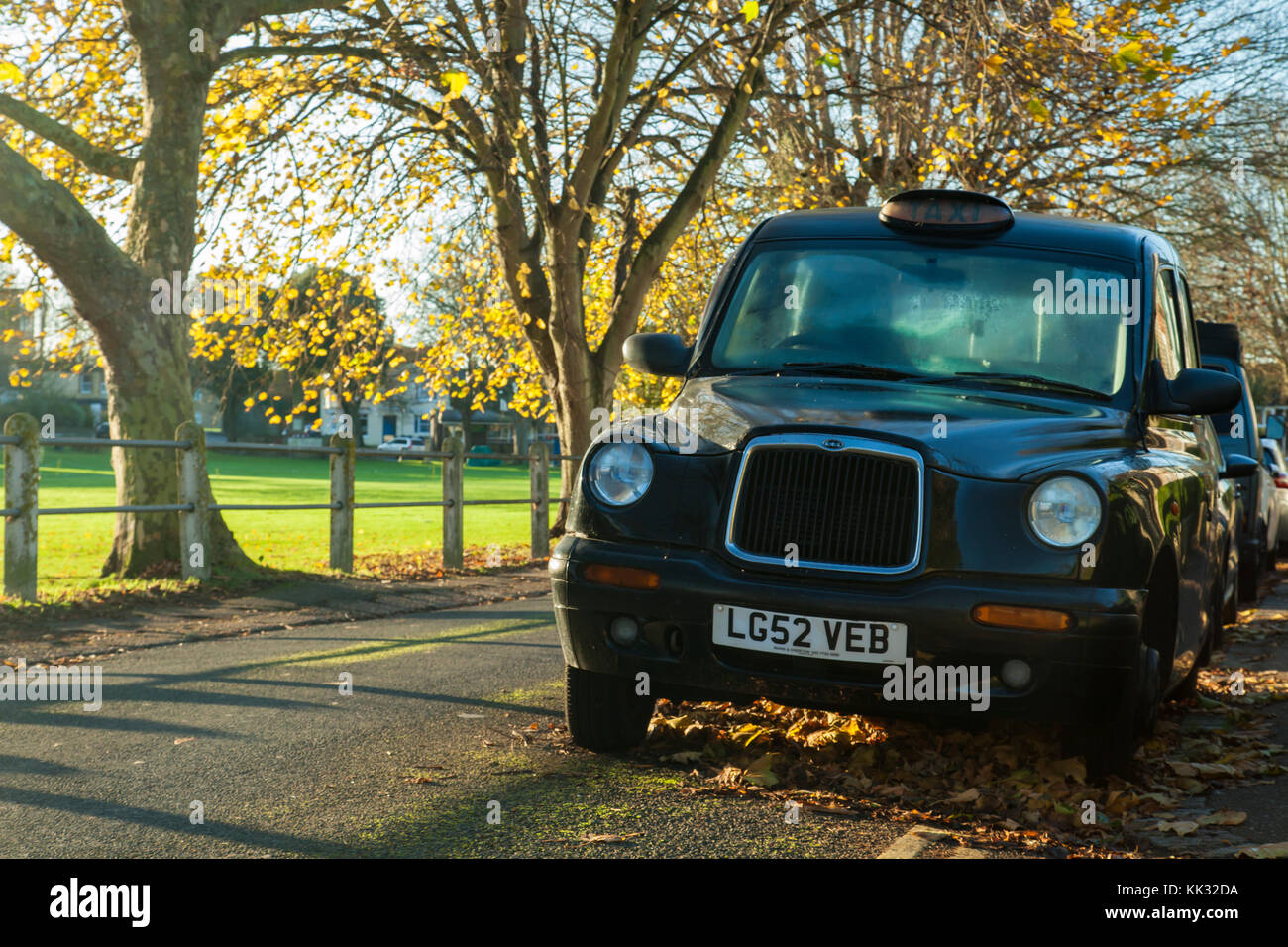 Hackney cab on a street in Southwick, West Sussex, England. - Stock Image