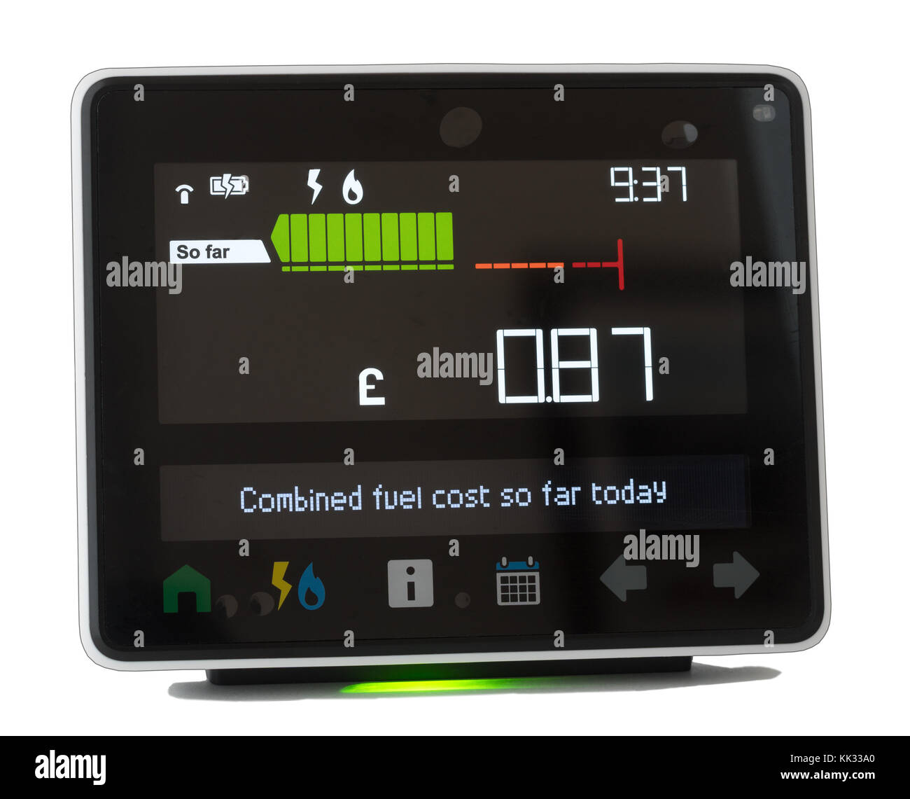 Chameleon Technology smart meter display showing energy usage within a domestic house, England, UK - Stock Image