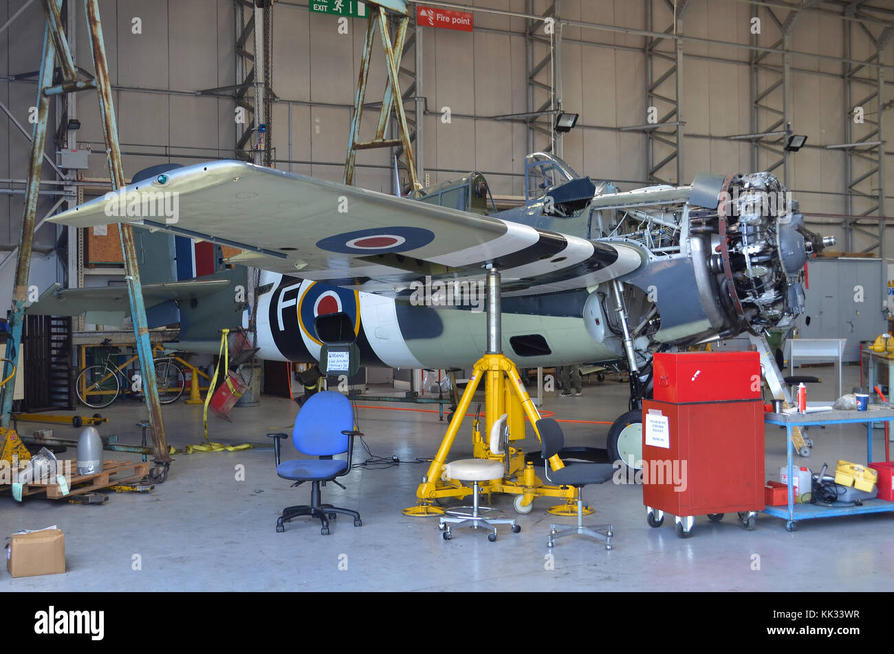 Grumman Wildcat FM2, built by General Motors, in Royal Navy Fleet Air Arm markings, undergoing maintenance by The - Stock Image