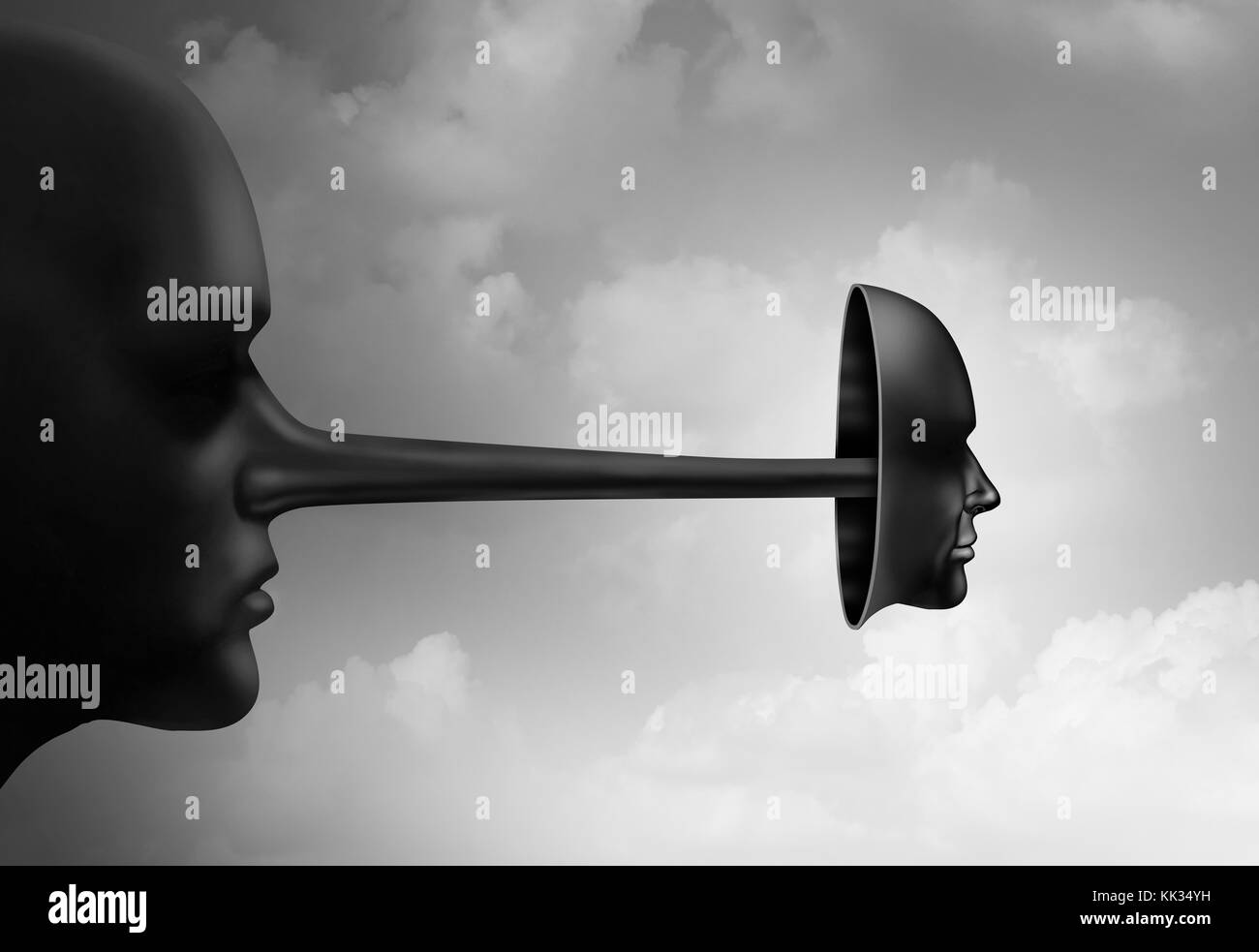 Con artist concept as a scammer and swindler with a long nose covered by a deceptive mask in a 3D illustartion style. - Stock Image