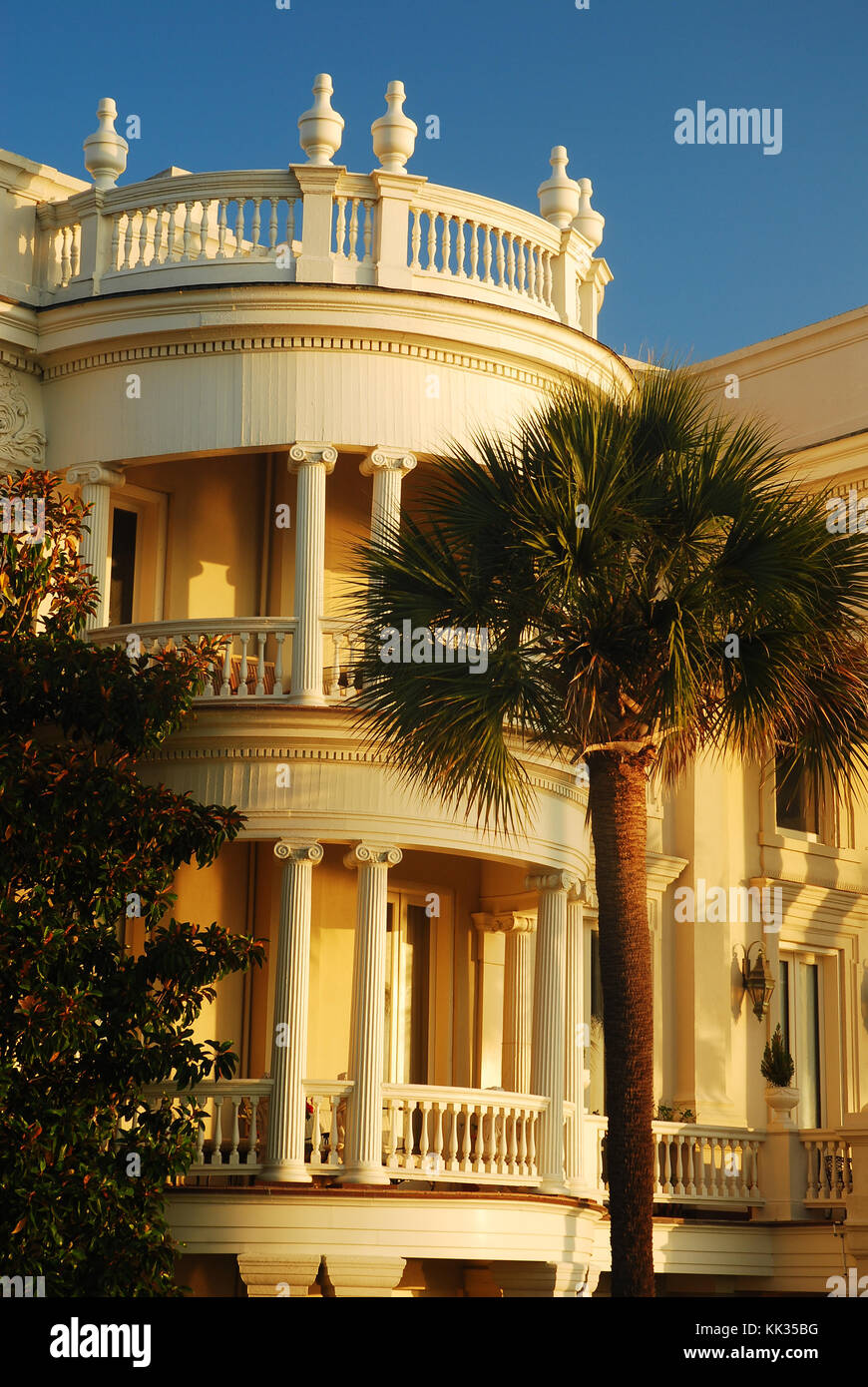 A rounded portico is a prominent feature of Antebellum homes found along the waterfront of Charleston, South Carolina - Stock Image