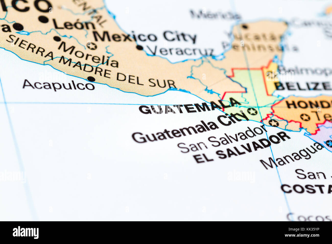 Close up of the country of Guatemala on a world map Stock Photo