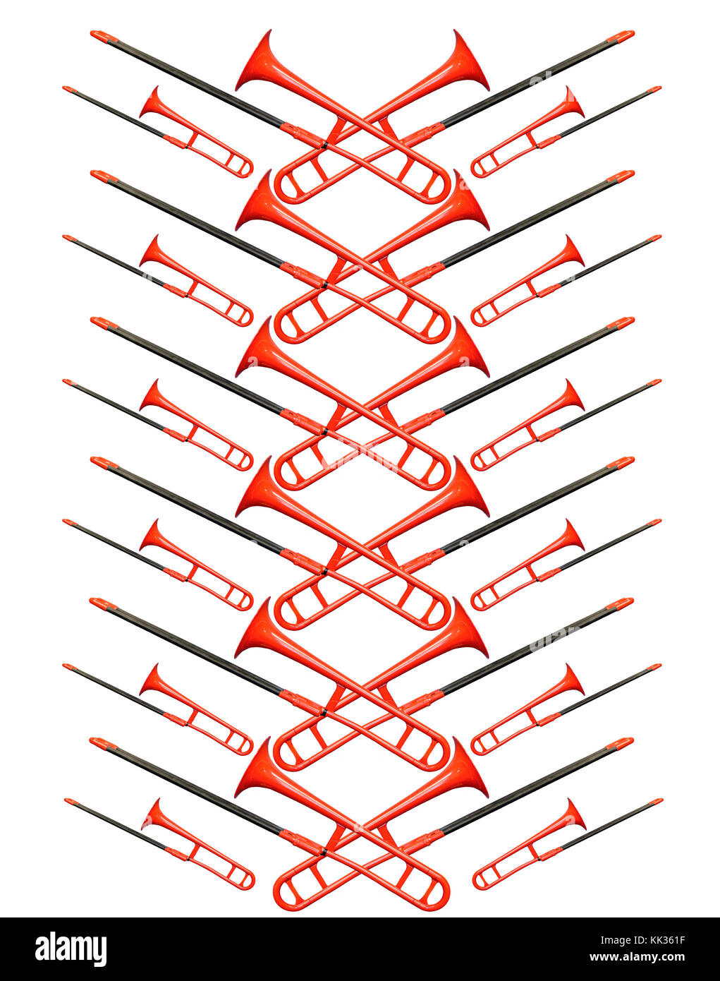 Red trombone on the white background, located diagonally - Stock Image