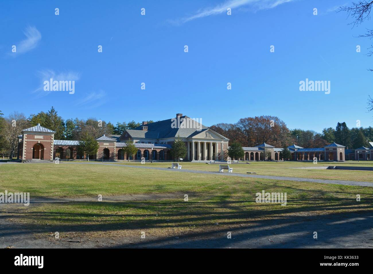 The historic labs, baths, and Hall of Springs buildings at the Saratoga Spa State Park in Saratoga Springs, Upstate - Stock Image