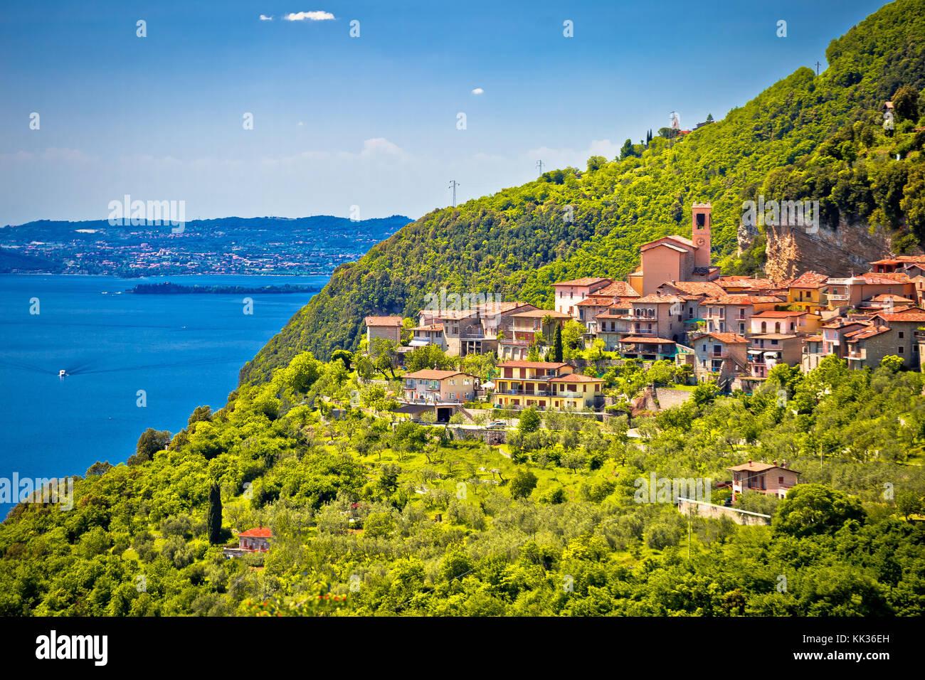 Idyllic village of Piovere on Garda lake cliffs, Lombardy region of Italy Stock Photo