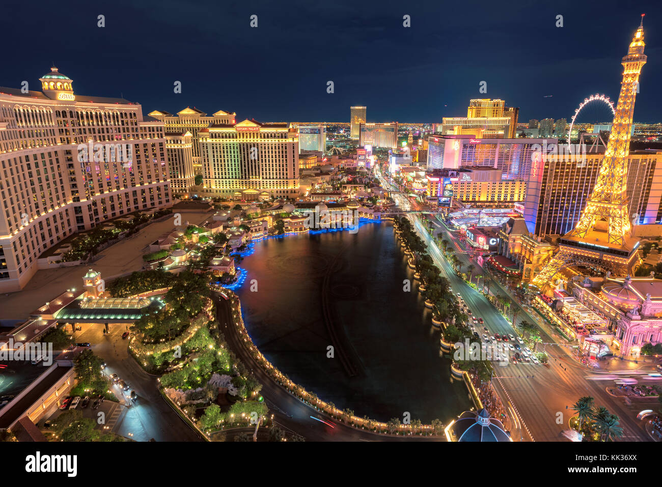 Las Vegas Strip skyline at night - Stock Image