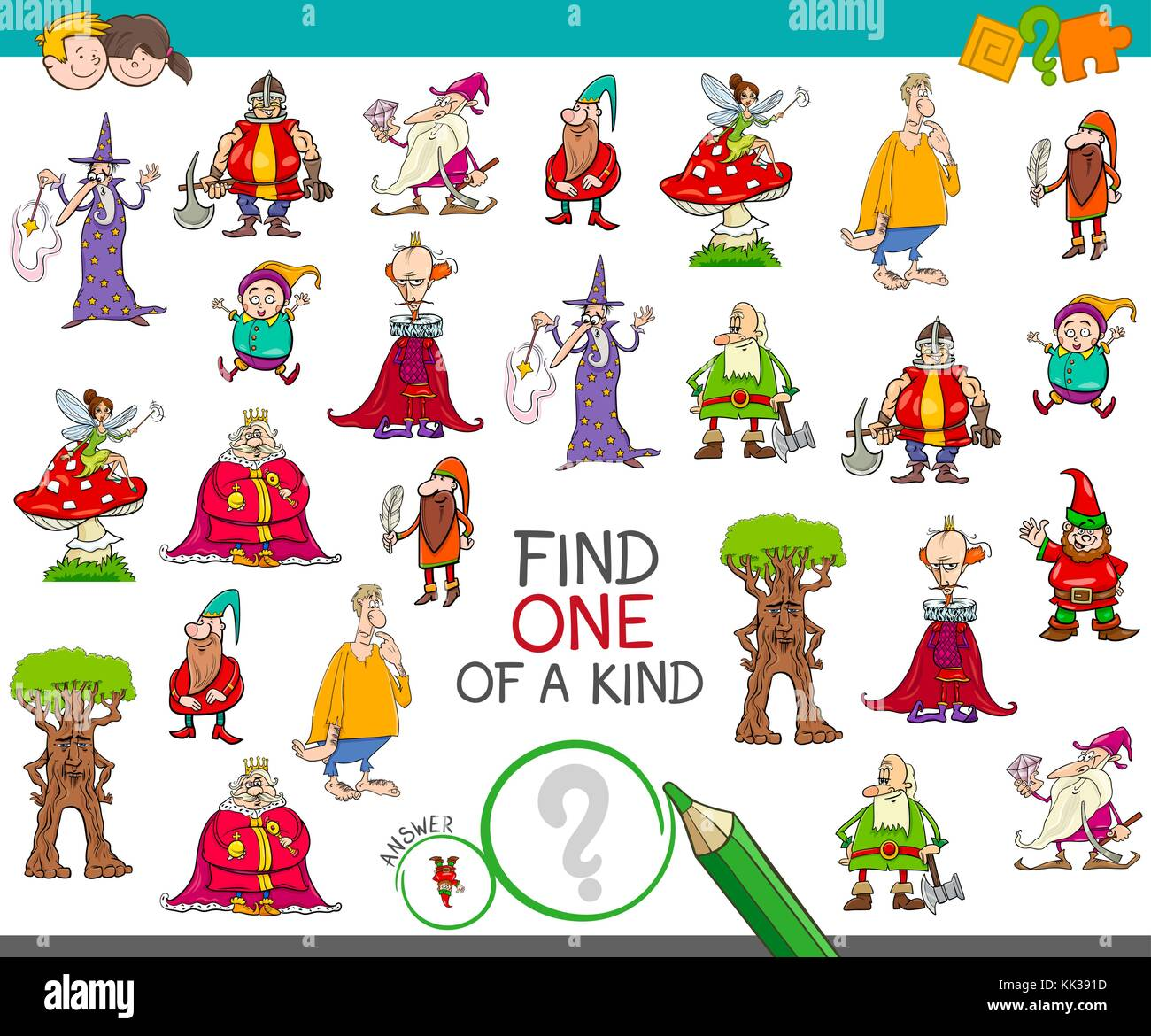 Cartoon Illustration of Find One of a Kind Educational Activity Game for Children with Fantasy Characters Stock Vector