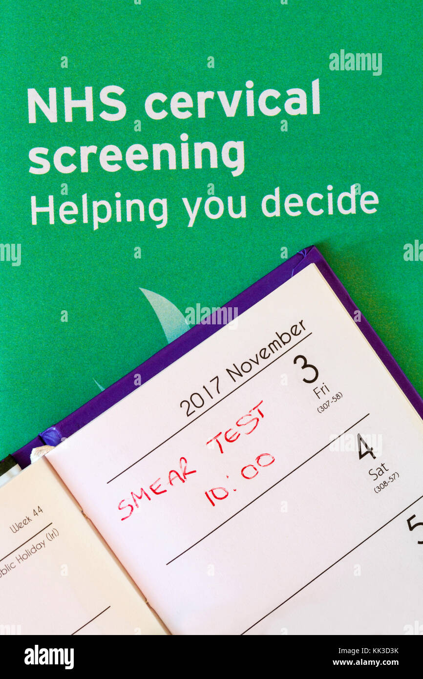 appointment in diary for smear test with NHS cervical screening helping you decide leaflet - Stock Image