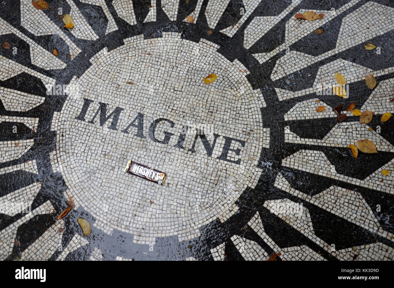 Strawberry Fields mosaic memorial in Central Park New York City - Stock Image