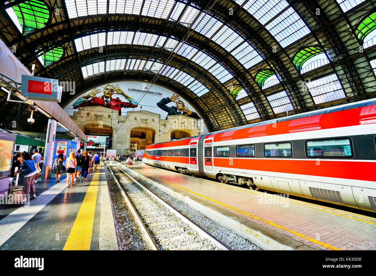 View of the High-speed train at Milano Centrale railway station in Milan on September 7, 2016. - Stock Image