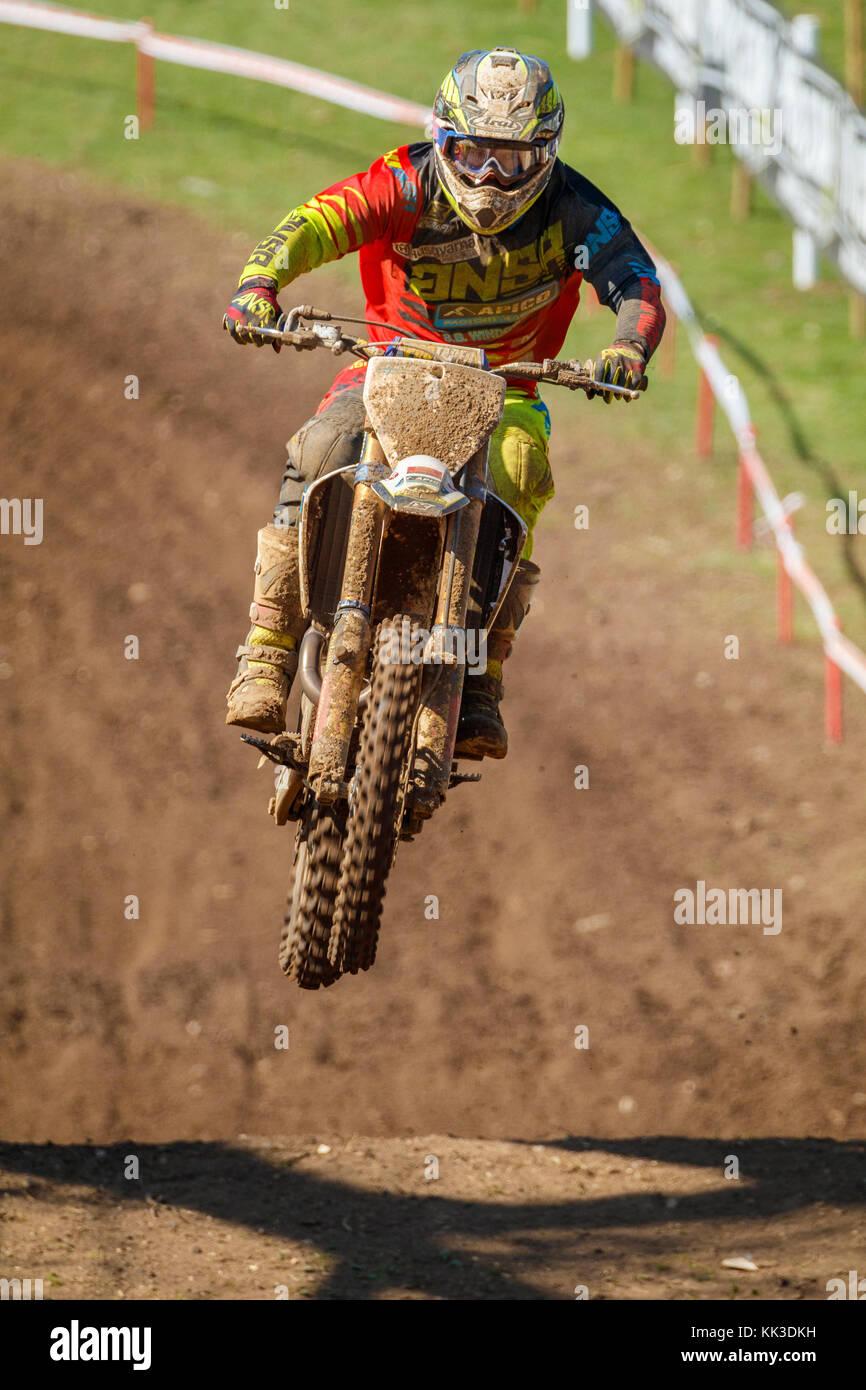 Matt Burrows on the Apico Husqvarna MX1 at the 2017 British Championship Motocross meeting at Cadders Hill, Lyng, - Stock Image
