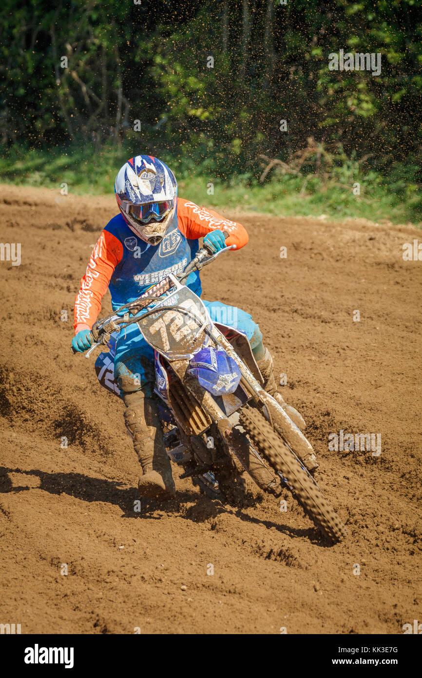 Sam Ongley on the Yamaha MXY2 at the 2017 British Championship meeting at Cadders Hill, Lyng, Norfolk, UK. - Stock Image