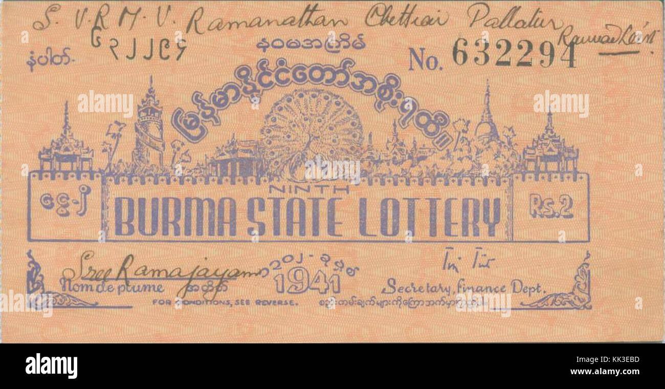 Ninth Burma State Lottery (1941 Stock Photo: 166648929 - Alamy