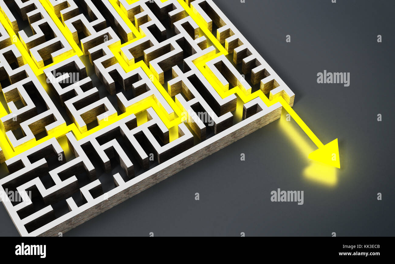 Yellow arrow successfully navigating trough the labyrinth. 3D illustration. - Stock Image