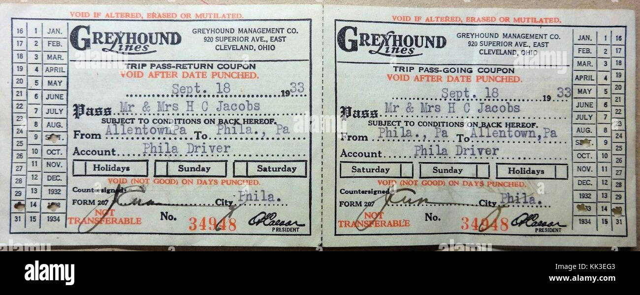 1933 Greyhound Bus Ticket Allentown PA Stock Photo