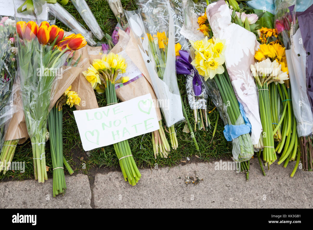 Floral tributes to the Westminster Bridge attack that took place on the 22nd March 2017, killing four people and - Stock Image