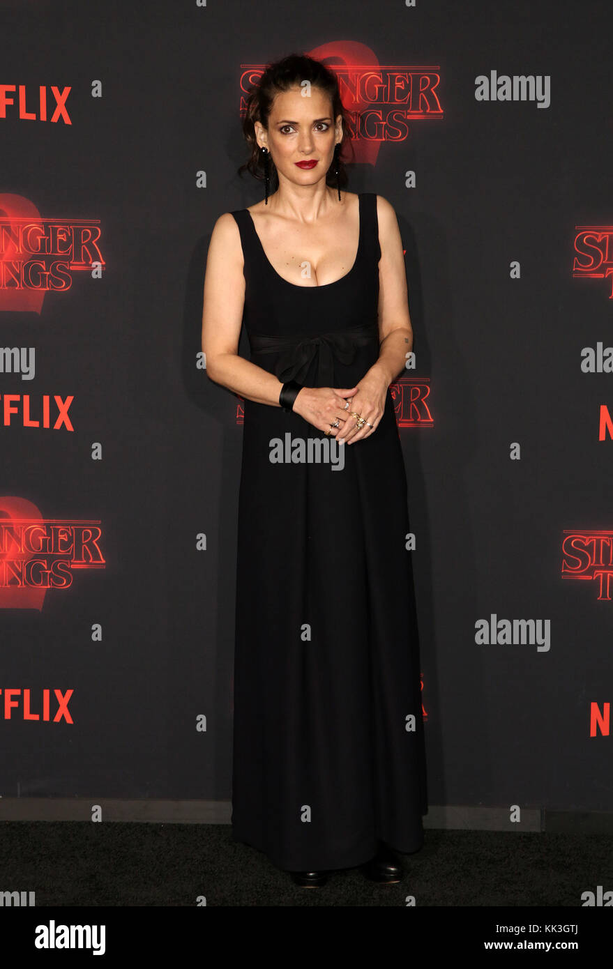 Celebrities attend Netflix's Stranger Things 2 Premiere at Westwood Village Theater.  Featuring: Winona Ryder - Stock Image