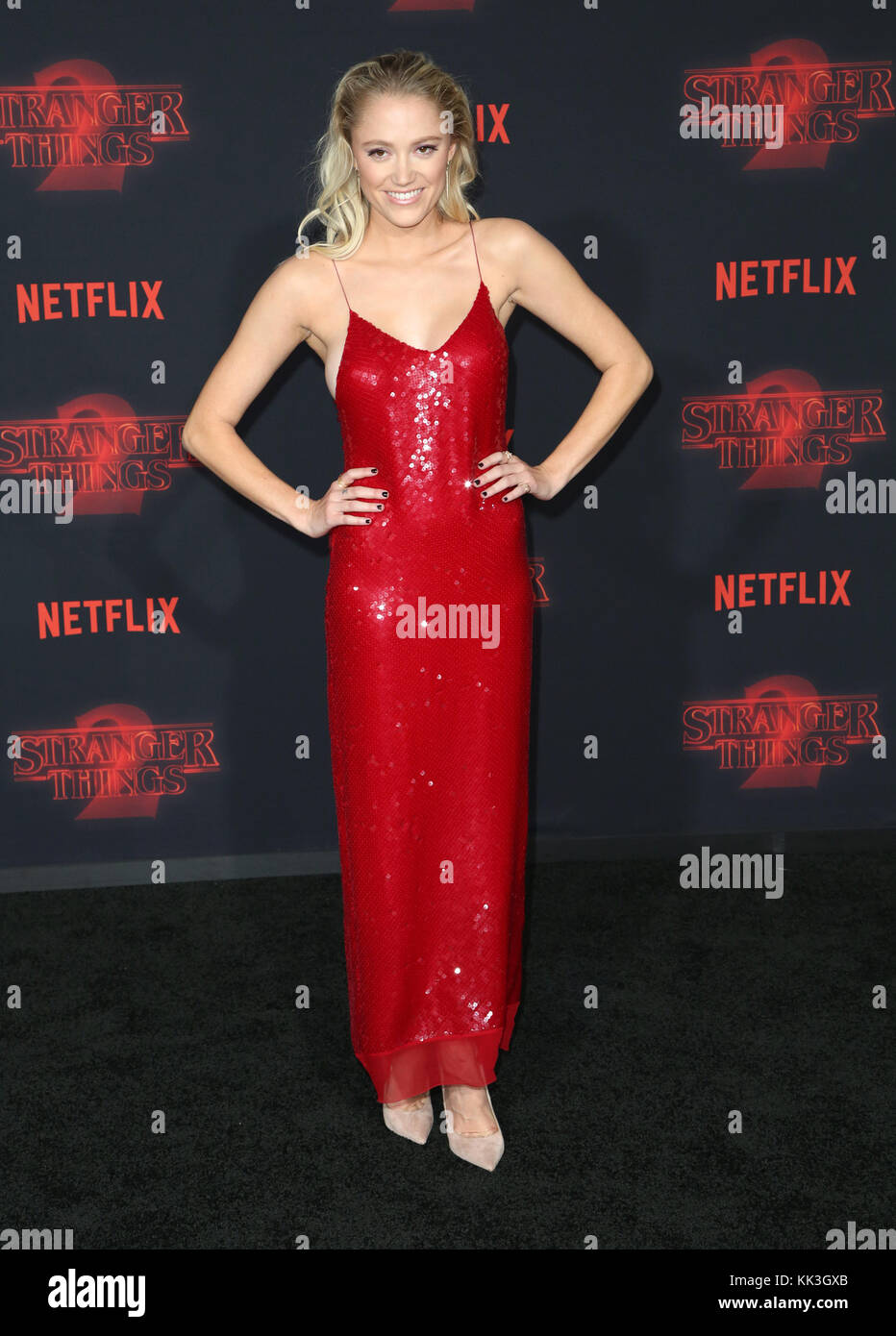 Celebrities attend Netflix's Stranger Things 2 Premiere at Westwood Village Theater.  Featuring: Maika Monroe - Stock Image