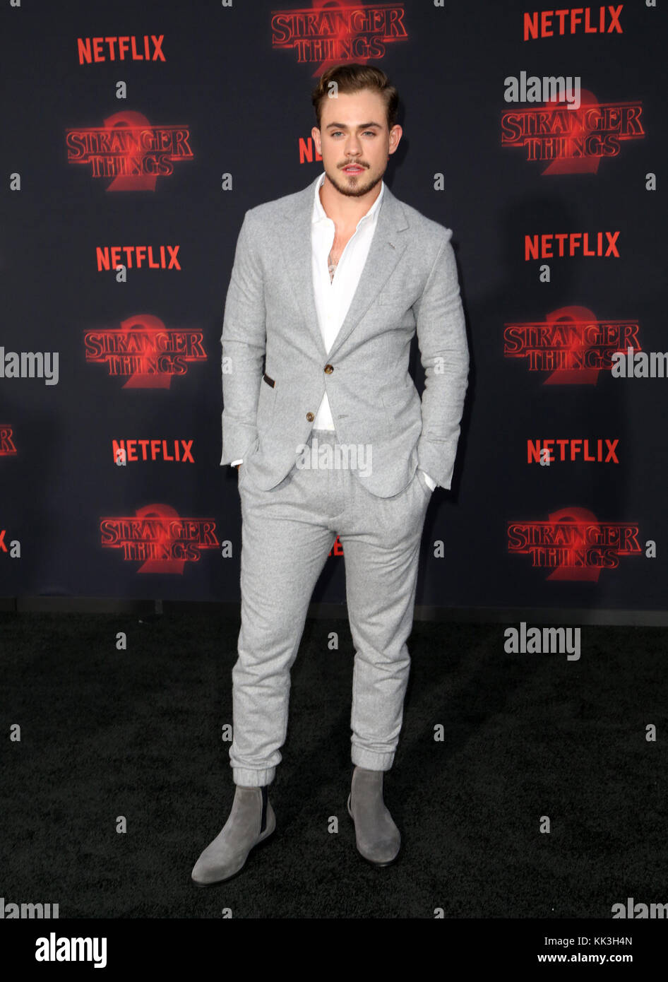 Celebrities attend Netflix's Stranger Things 2 Premiere at Westwood Village Theater.  Featuring: Dacre Montgomery - Stock Image