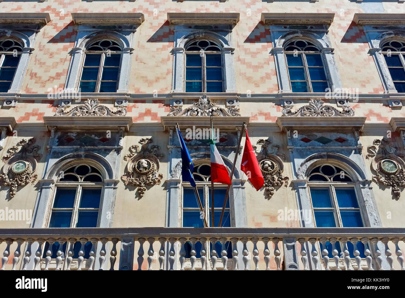Palazzo Gopcevich, which houses Carlo Schmidl Civic Theatrical Museum. Elegant, amazing building facade. Trieste, - Stock Image
