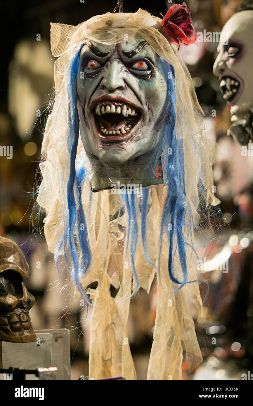 A frightening mask for sale at the Halloween Adventure in Greenwich Village, Manhattan, New York City. - Stock Image