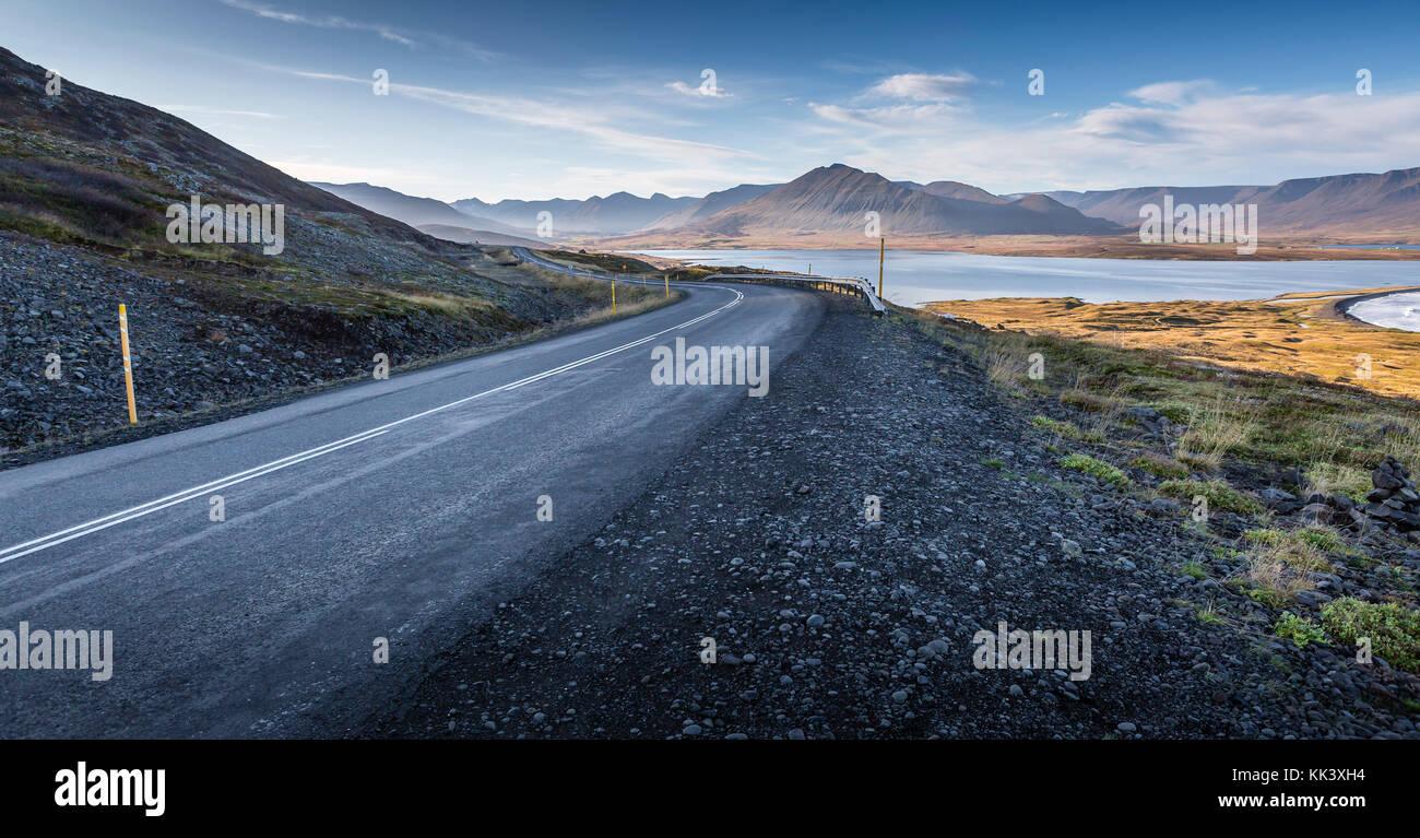 SIGLUFJOROUR TO BLONDOUS - views on the coastal road - Stock Image