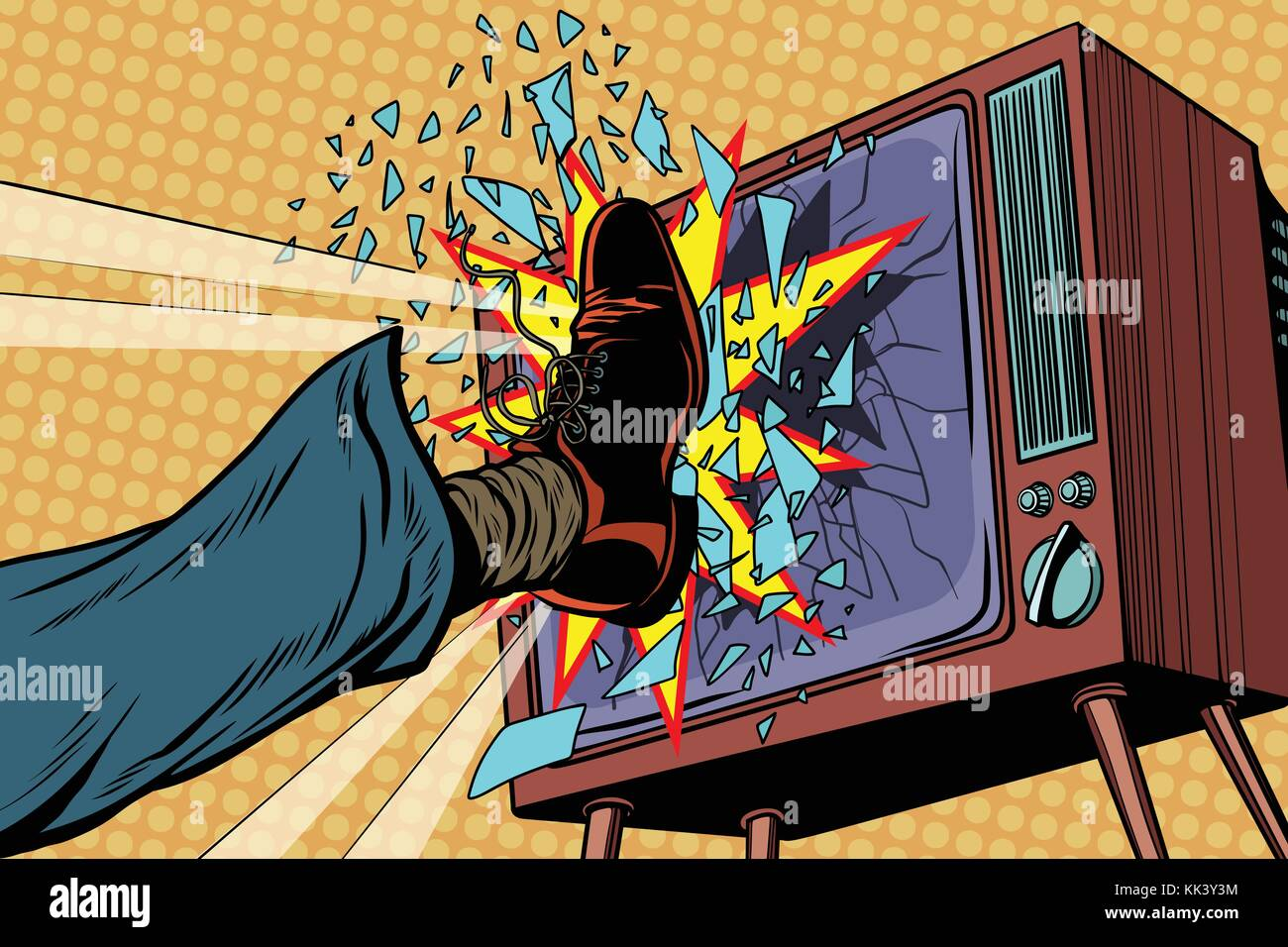 Leg breaks TV, concept fake news. Pop art retro vector illustration - Stock Vector