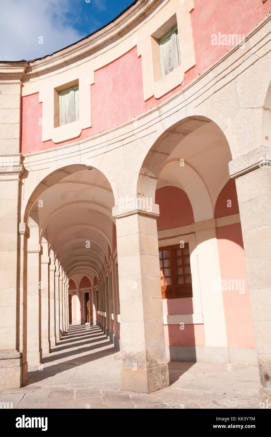 Arcade. Riofrío Palace, Segovia province, Castilla Leon, Spain. - Stock Image