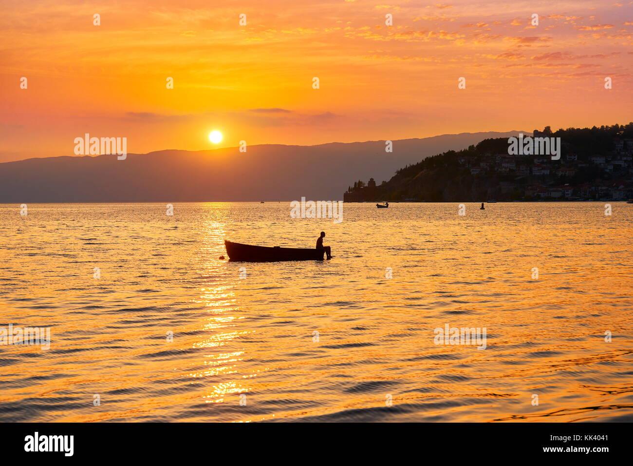 Ohrid Lake at sunset time, Macedonia - Stock Image