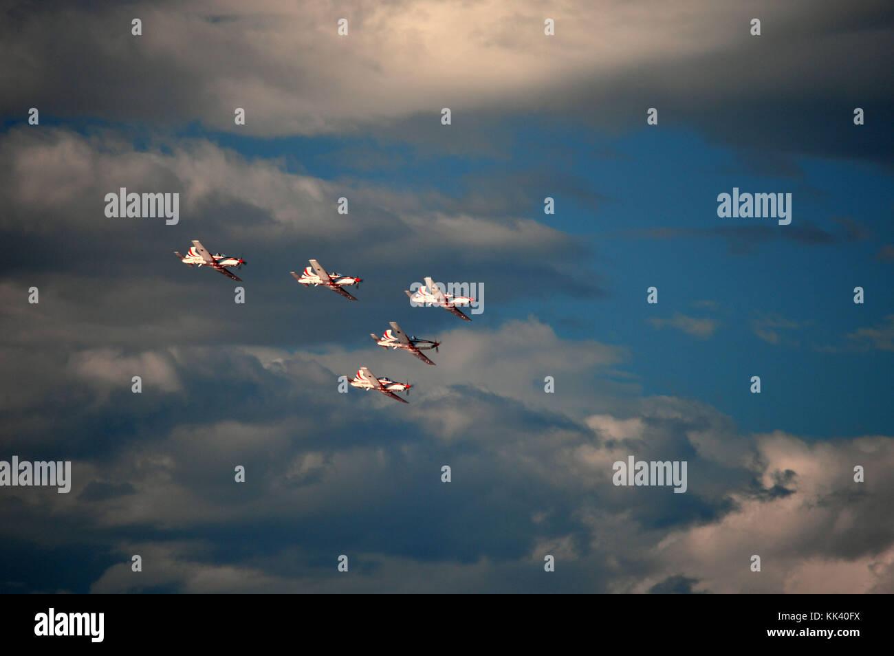 Croatian AF aerobatic team Krila Oluje (Wings of Storm) in a formation over Šibenik Croatia - Stock Image