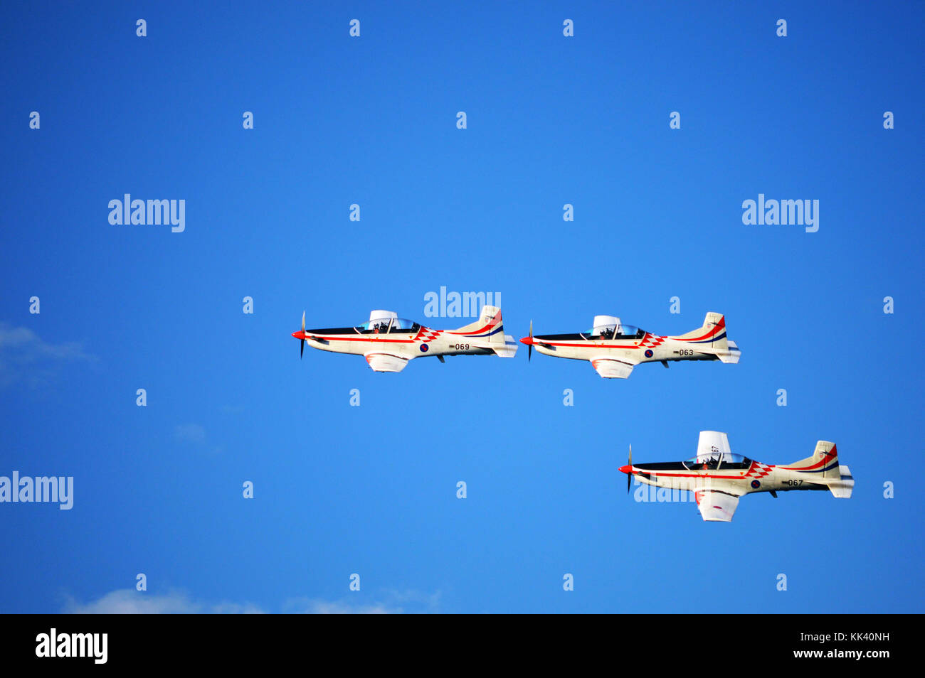 Croatian AF aerobatics team Krila Oluje (Wings of Storm) in a formation over Šibenik, Croatia - Stock Image